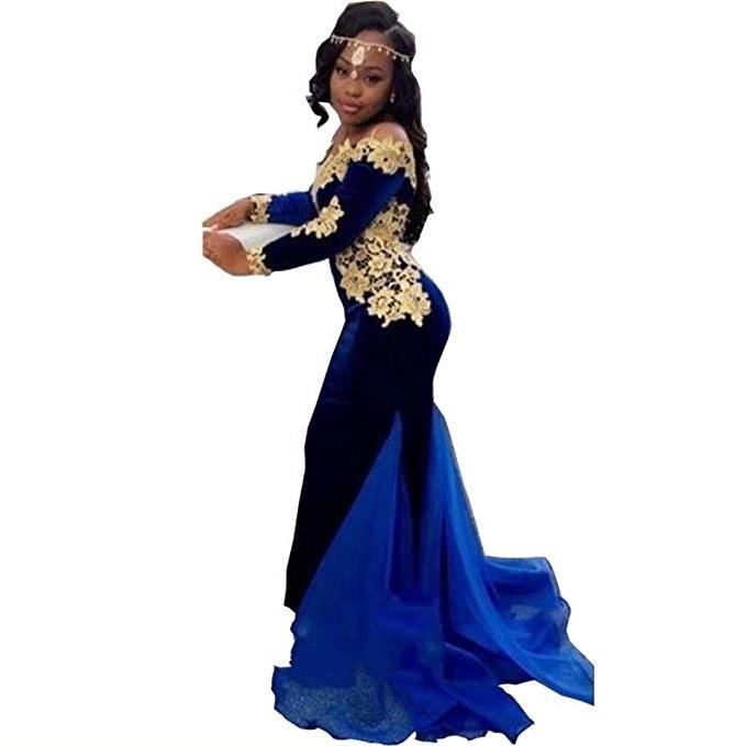 Ide Long Dress Bridesmaid Hijab Drdp Dingdingmail Royal Blue Prom Dresses Long Sleeve Mermaid Velvet Special Party Dress F Shoulder evening Gowns