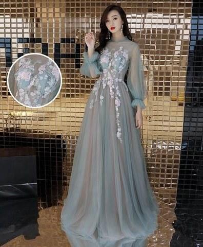 Ide Long Dress Bridesmaid Hijab Irdz Green Tulle Lace Long Prom Dress Green Tulle evening Dress