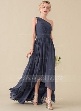 Ide Long Dress Bridesmaid Hijab J7do E Shoulder asymmetrical Chiffon Bridesmaid Dress with Cascading Ruffles