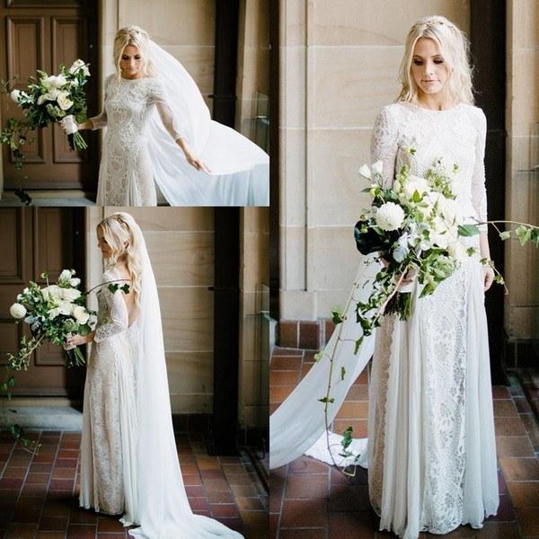 Ide Long Dress Bridesmaid Hijab Jxdu Discount 2019 Beach Bohemian Wedding Dresses Vintage French Lace Long Sleeve Boho A Line Open Back Country Bridal Gowns Vestido De Noiva Bc0590