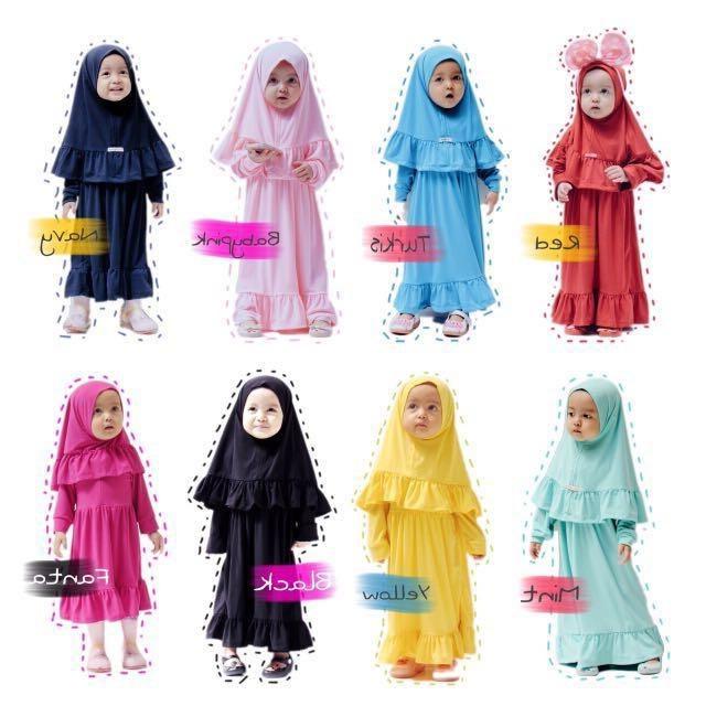 Inspirasi Desain Baju Bridesmaid Hijab S1du Kireina Dress Hijab Set Kids & Mother Women S Fashion