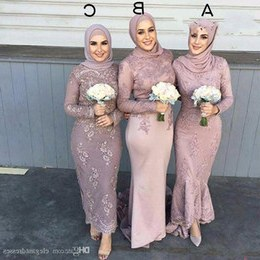 Inspirasi Desain Bridesmaid Hijab 4pde 2019 Vintage Muslim Long Sleeve Lace Appliques Bridesmaid Dresses Sheath Wedding Guests Honor Maid Custom formal Special Occasion Dress