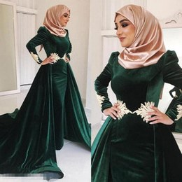 Inspirasi Model Baju Bridesmaid Hijab 2018 4pde Dark Green Velvet Muslim Prom Dresses High Neck Appliqued Plus Size evening Gowns Long Sleeves Hijab Kaftan Dubai Overskirt formal Dress