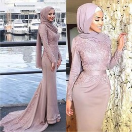 Inspirasi Model Baju Bridesmaid Hijab 2018 Kvdd 2019 Dusty Pink Muslim evening Dresses Hijab Scoop Neck Appliques Ribbon Sash Satin Mermaid Prom Dresses formal Gowns Sweep Train