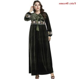Inspirasi Model Baju Gamis Pernikahan 87dx Velvet Abayas for Women Flowers Embroidery Tassel Muslim Dress Kaftan Turkish Dubai islamic Plus Size Clothing Amy Green Robe