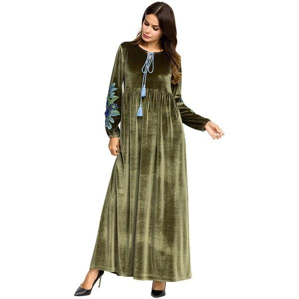 Inspirasi Model Baju Gamis Pernikahan Mndw 2019 Muslim Kaftans Hand Embroidered Velvet Long Sleeve Dress Muslimah Long Skirt Wanita Muslim Baju Muslimah Pakaian Moslemi Naiste Kleit From
