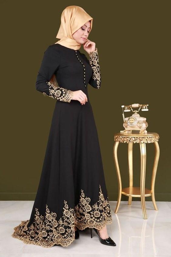 Inspirasi Model Baju Gamis Pernikahan T8dj Model Baju Muslim Pesta Brokat