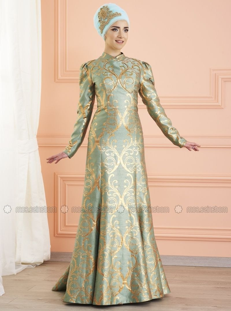 Inspirasi Model Baju Gamis Pernikahan U3dh Mint Fully Lined Crew Neck Muslim evening Dress