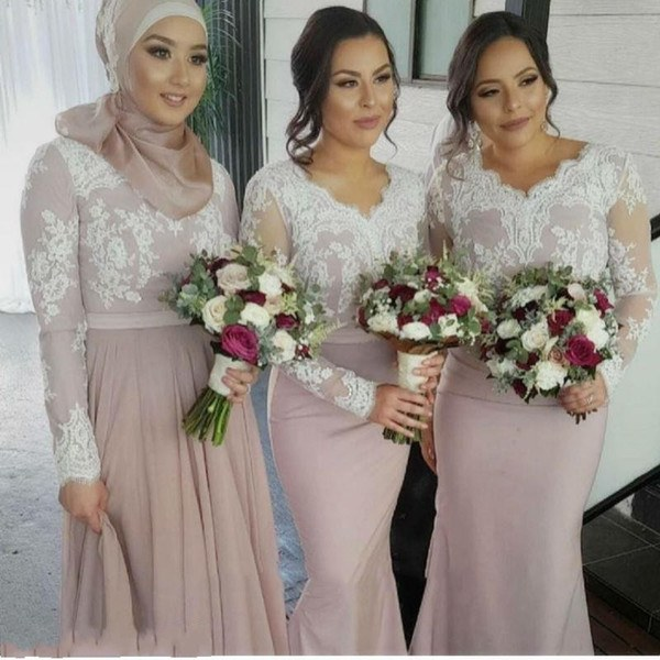 Model Bridesmaid Hijab 87dx White Lace Nude Long Sleeves Bridesmaid Dresses Muslim Arabic Women formal Gowns Plus Size Mermaid Wedding Party Dress Blue Bridesmaid Dresses Dresses