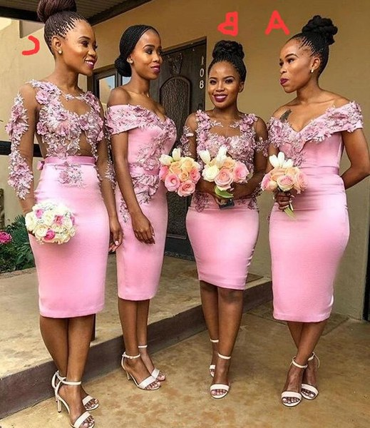 Model Design Bridesmaid Hijab Fmdf 2020 Newest Pink African Bridesmaid Dress for Wedding Party Handmade Flowers Sheath Lady Party formal Maid Honor Gowns Long Dresses for Wedding
