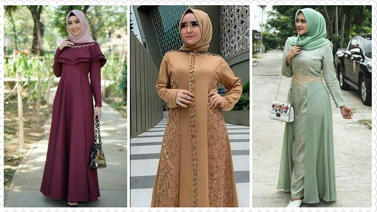 Model Gamis Syari Untuk Pesta Pernikahan Txdf 15 Model Baju Gamis Brokat Pesta Muslimah Terbaru 2019 2020