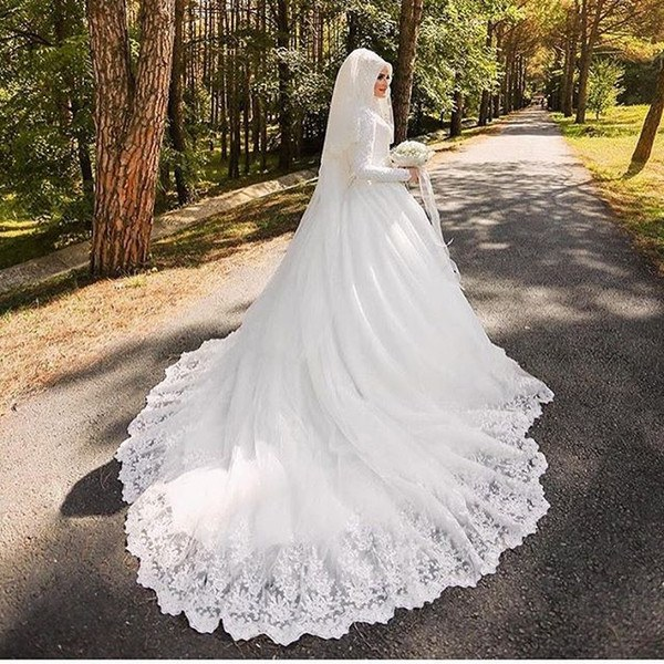 Model Hijab Bridesmaid Dresses Nkde Discount Luxury Muslim Wedding Dresses with Hijab Long Sleeve Lace Applique Chapel Train Arabic Bridal Gowns Robe De Mariage Simple Wedding Dresses