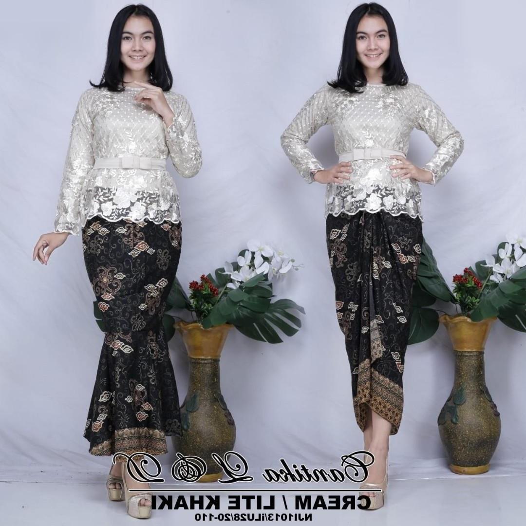 Model Model Baju Bridesmaid Hijab 2019 S5d8 Cantika Sulam Kurung with Printed Batik Skirt Free Belt