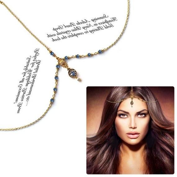 Model Model Bridesmaid Hijab 2019 Dwdk Gold Navy Blue Crystal Kundan Indian Jewelry Matha Patti Tikka Head Chain Bollywood Grecian Hijab Jewellery Bridal Hair Piece Wedding