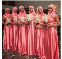Model Model Bridesmaid Hijab 2019 Mndw 2019 Vintage A Line Muslim Wedding Bridesmaid Dresses Long Sleeves Lace Appliques Beads Hijab Maid Of Honor Gowns islamic Coral