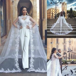 Model Vintage Bridesmaid Dress Hijab H9d9 Details About Wedding Lace Tulle Long Cape Bridal White Ivory Jacket Shawl Applique Cloak Plus