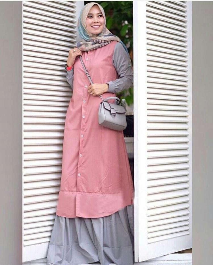 Bentuk Baju Lebaran Gamis 2018 O2d5 Trend Baju Lebaran Terbaru 2018 Davina Pink Abu Model