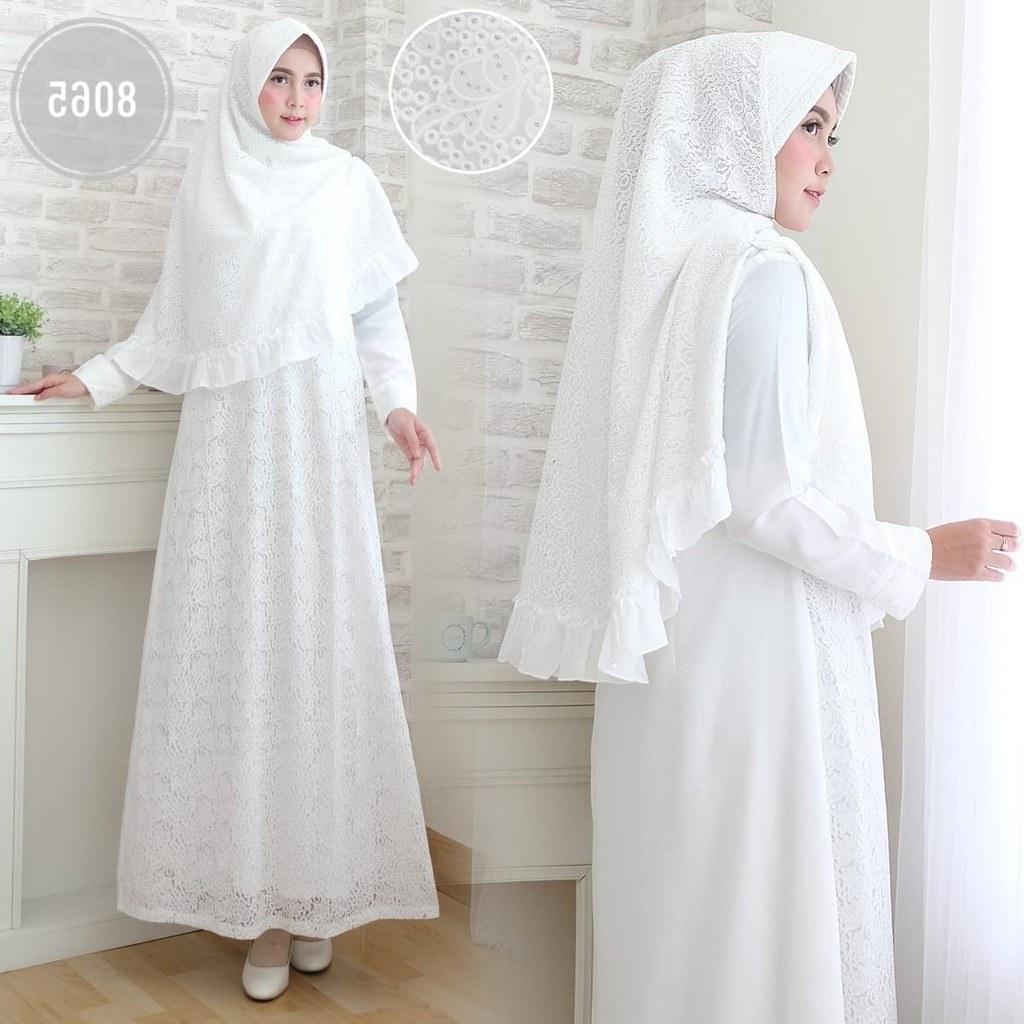 Bentuk Baju Lebaran Keluarga Warna Putih S1du Agnes Baju Gamis Wanita Brukat Syari Putih Lebaran Umroh