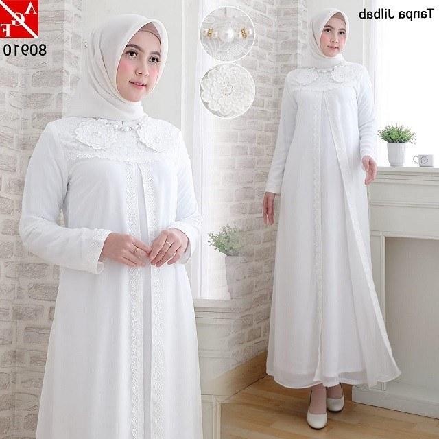 Bentuk Baju Lebaran Wanita Terbaru Budm Baju Gamis Wanita Dewasa Syari Putih Lebaran Umroh Haji