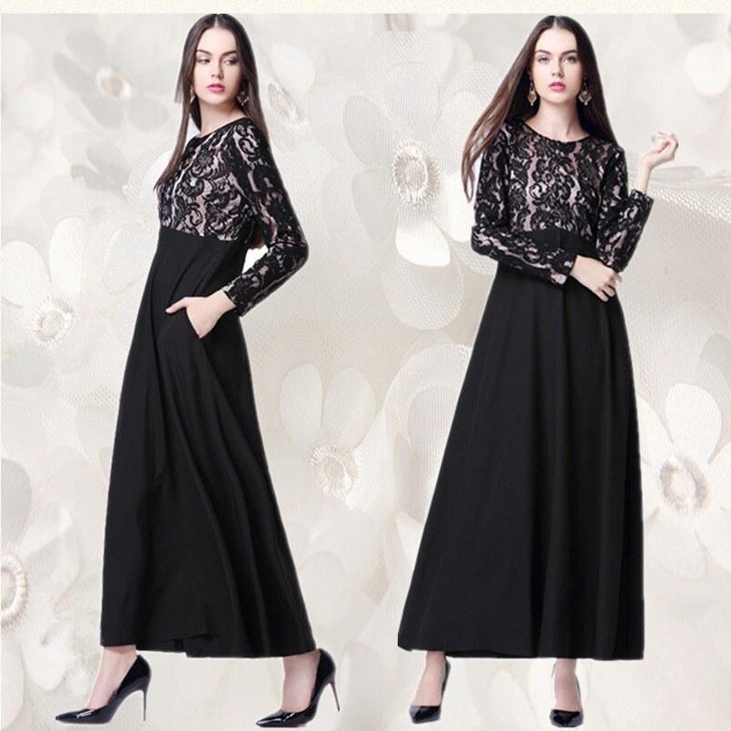 Bentuk Fashion Muslim Korea 3ldq A026 Lace Korea Linen Fashion Muslim Lady Long One Pcs