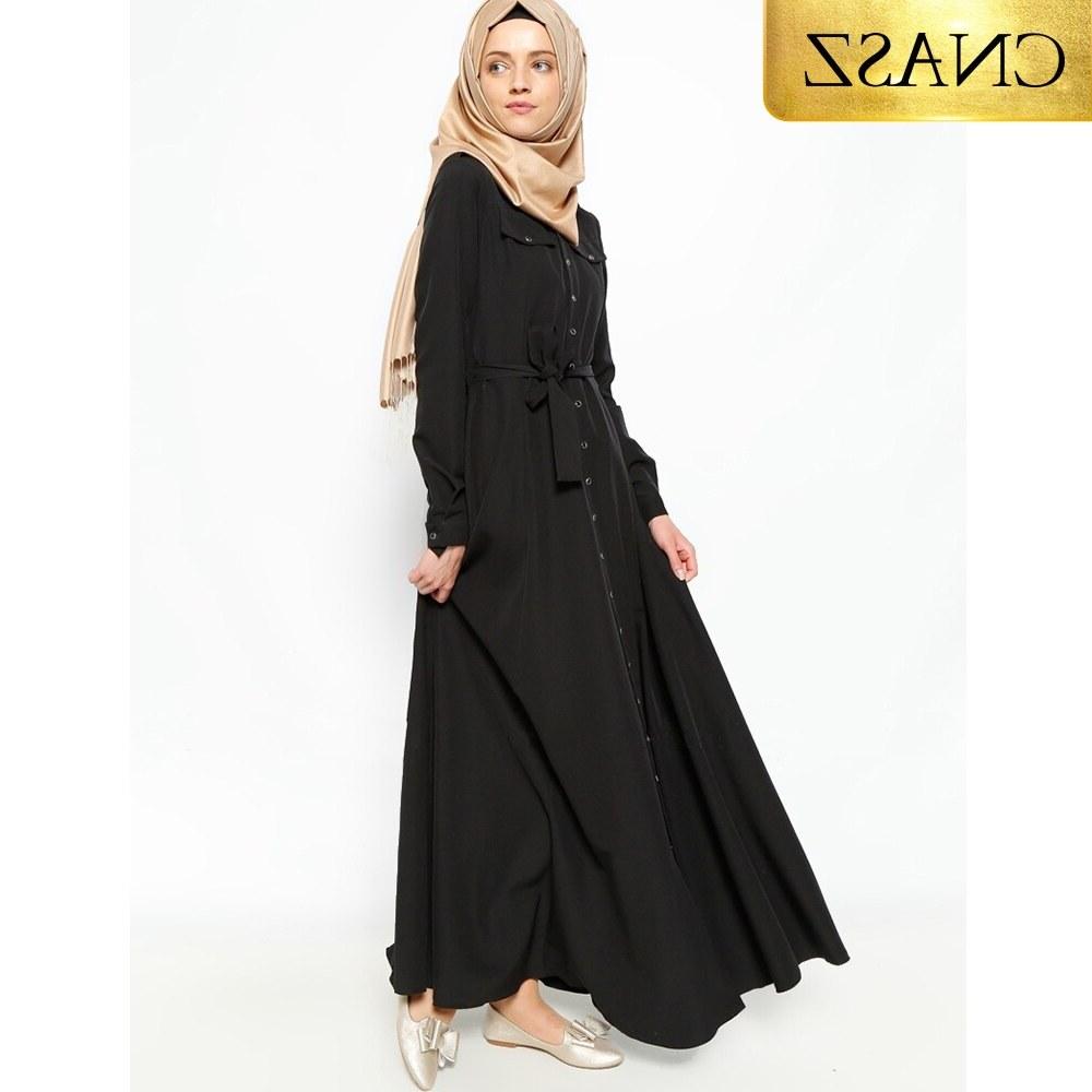 Bentuk Fashion Muslim Korea Ftd8 Muslim Korea Hemp Dress Abayas for Women Embroidery