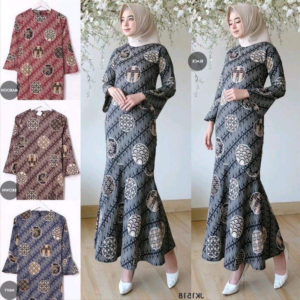 Bentuk Model Baju Lebaran Muslim Terbaru Whdr Jual Baju Gamis Wanita Maidia Batik Dress Muslim Gamis