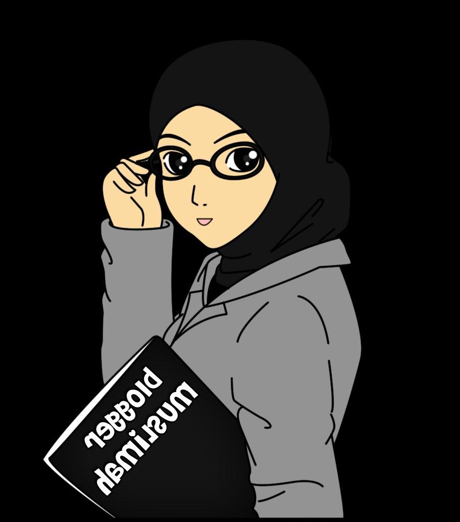 Bentuk Muslimah Bercadar Hitam 0gdr Gambar Wanita Muslimah Kartun Berkacamata