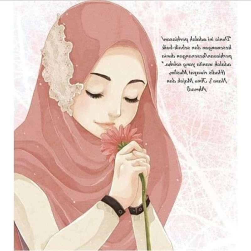 Bentuk Muslimah Kartun Cantik Berhijab Budm 14 Kartun Muslimah Imut Membawa Bunga Anak Cemerlang