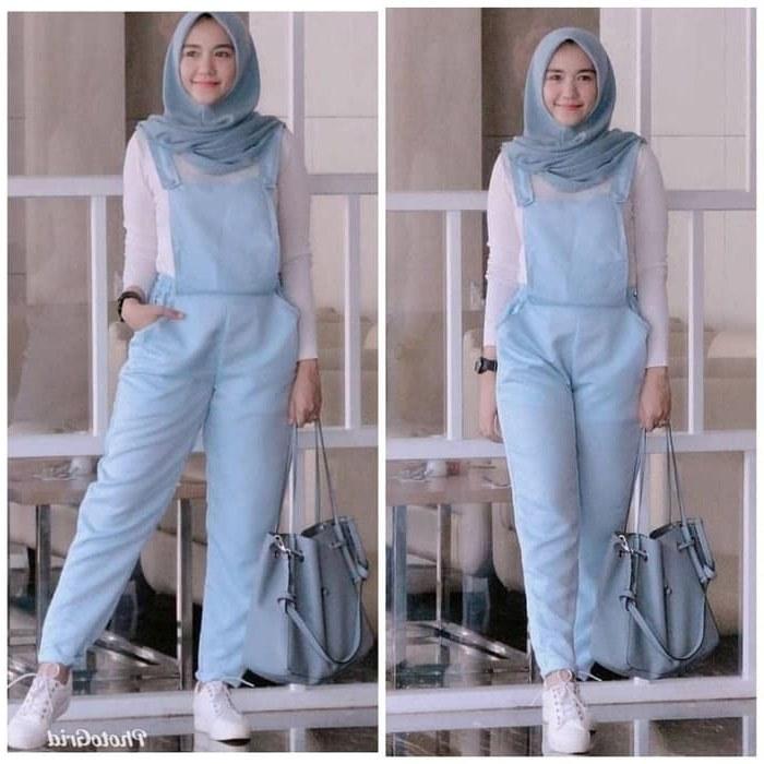 Bentuk Setelan Baju Lebaran Wanita Nkde Setelan Baju Jumpsuit Panjang Hijab Remaja Modern