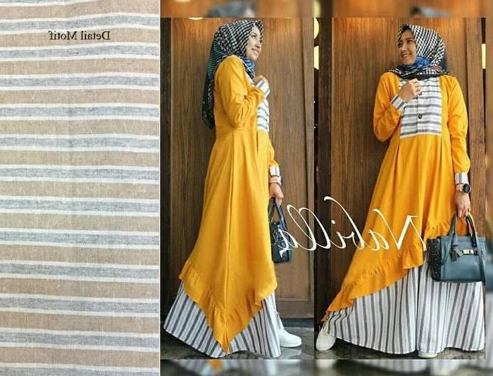 Bentuk Trend Warna Baju Lebaran 2018 Rldj Trend Baju Lebaran 2018 Nabilla Mustard Model Baju Gamis