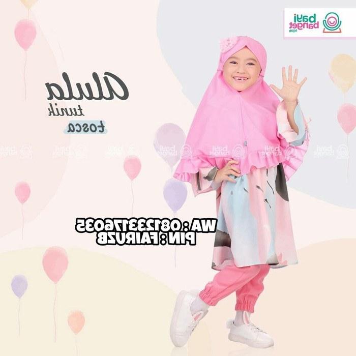 Design Baju Lebaran Anak Perempuan 2018 Qwdq Model Baju Muslim Anak Perempuan Setelan Celana Hijabfest