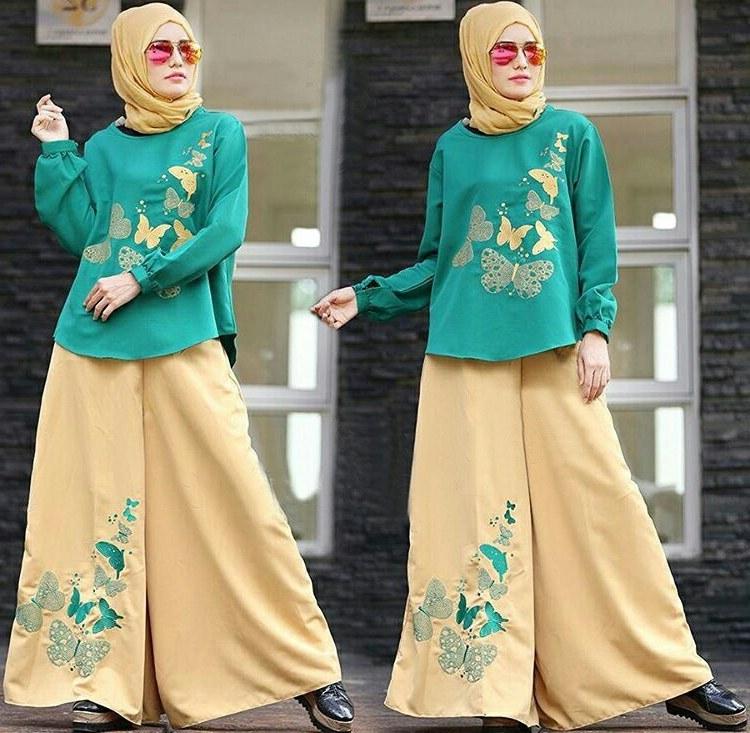 Design Baju Lebaran Celana Dan atasan Drdp Setelan Hijab Modis 3 In 1 Baju Dan Celana Kulot Model