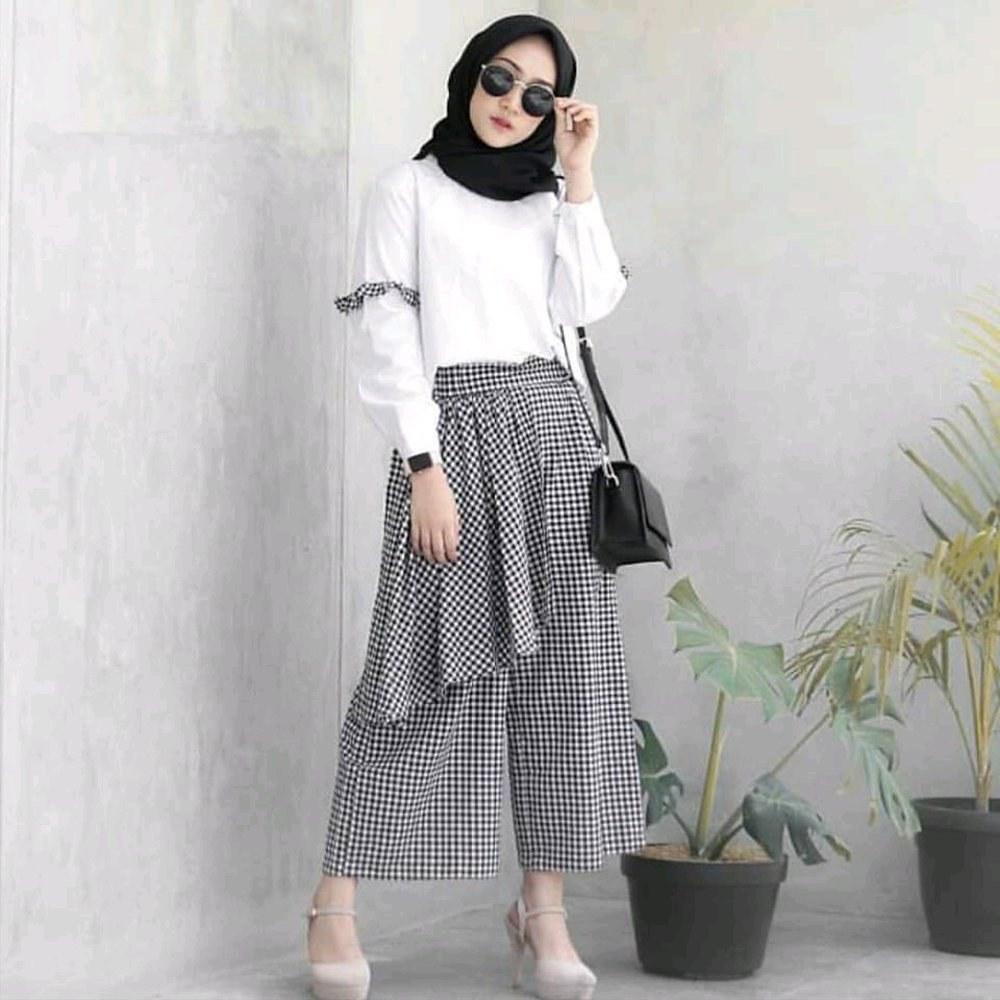 Design Baju Lebaran Celana Dan atasan Mndw Jual Set 2 In 1 Baju Dan Celana Kulot atasan top Wanita