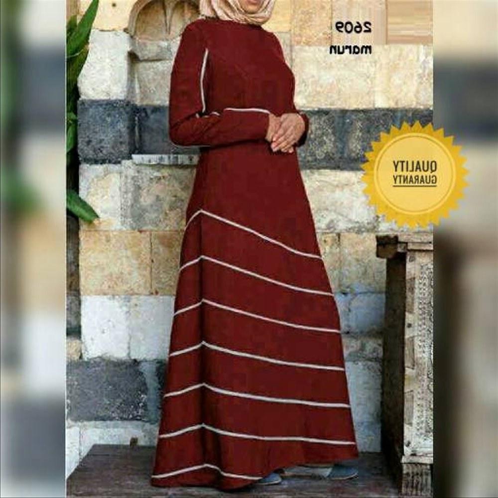 Design Baju Lebaran Simpel Y7du Jual Busana Muslim Maxi Stripe Simpel Gamis Baju Lebaran