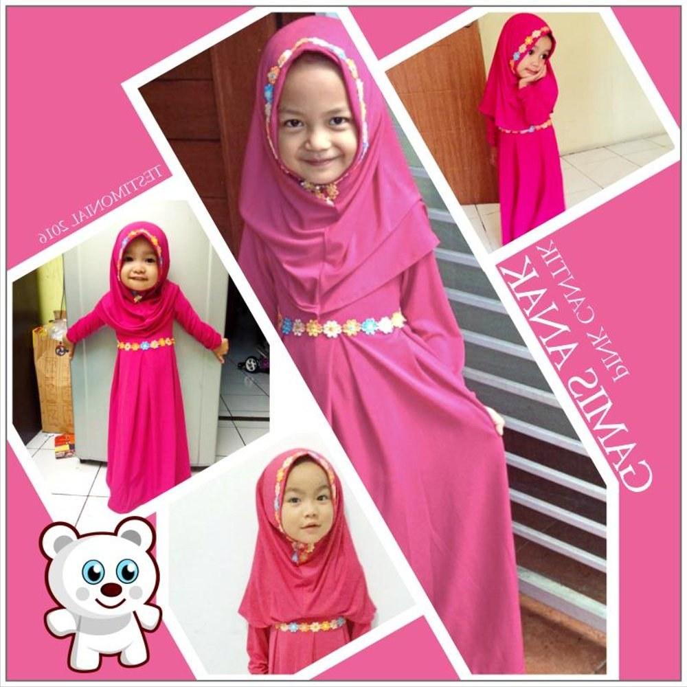 Design Baju Lebaran Untuk Anak Perempuan 3id6 Jual Baju Muslim Anak Perempuan Lebaran Pink Di Lapak Kids