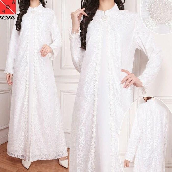Design Model Baju Lebaran Warna Putih 4pde Baju Lebaran 2018 Ceruty Kombi Brokat Putih Af