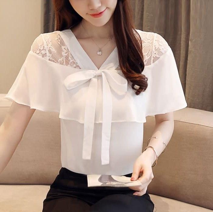 Design Model Baju Lebaran Warna Putih H9d9 Baju atasan Wanita Lengan Pendek Cantik Modern