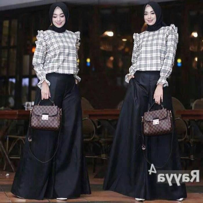 Design Poto Baju Lebaran H9d9 Trend Baju Lebaran 2018 Kulot Set Rayya Hitam Model Baju