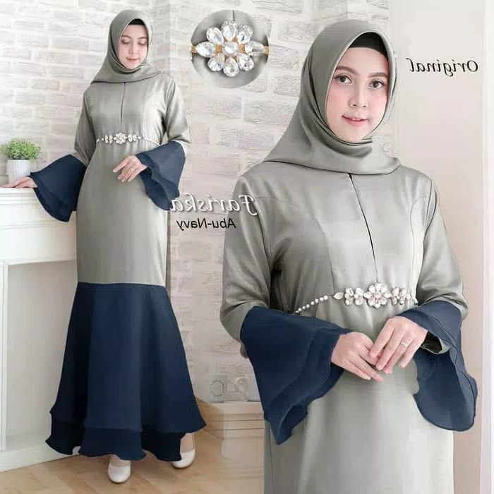 Design Poto Baju Lebaran O2d5 Baju Gamis Lebaran Modern Fariska Abu Navy