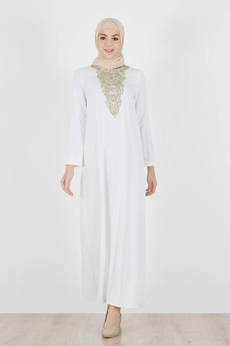Design Warna Baju Lebaran 2019 Irdz 30 Model Gamis Putih Mewah Modern Elegan Brokat