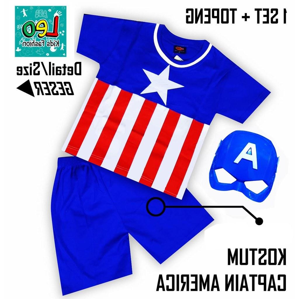Ide Baju Lebaran Anak Usia 10 Tahun X8d1 Setelan Anak Baju Anak Kostum Superhero Captain America