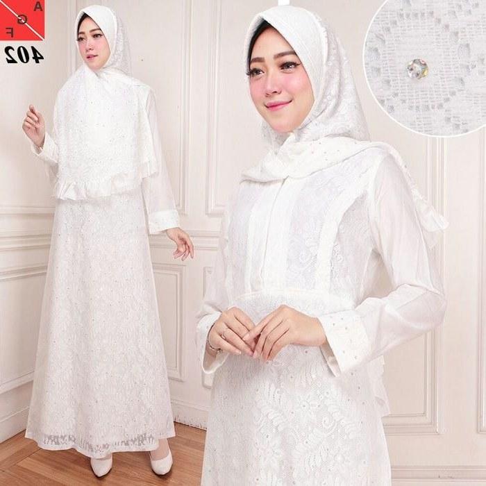 Ide Baju Lebaran Brokat 0gdr Model Baju Lebaran 2018 Brokat Putih Af4027 Model Baju