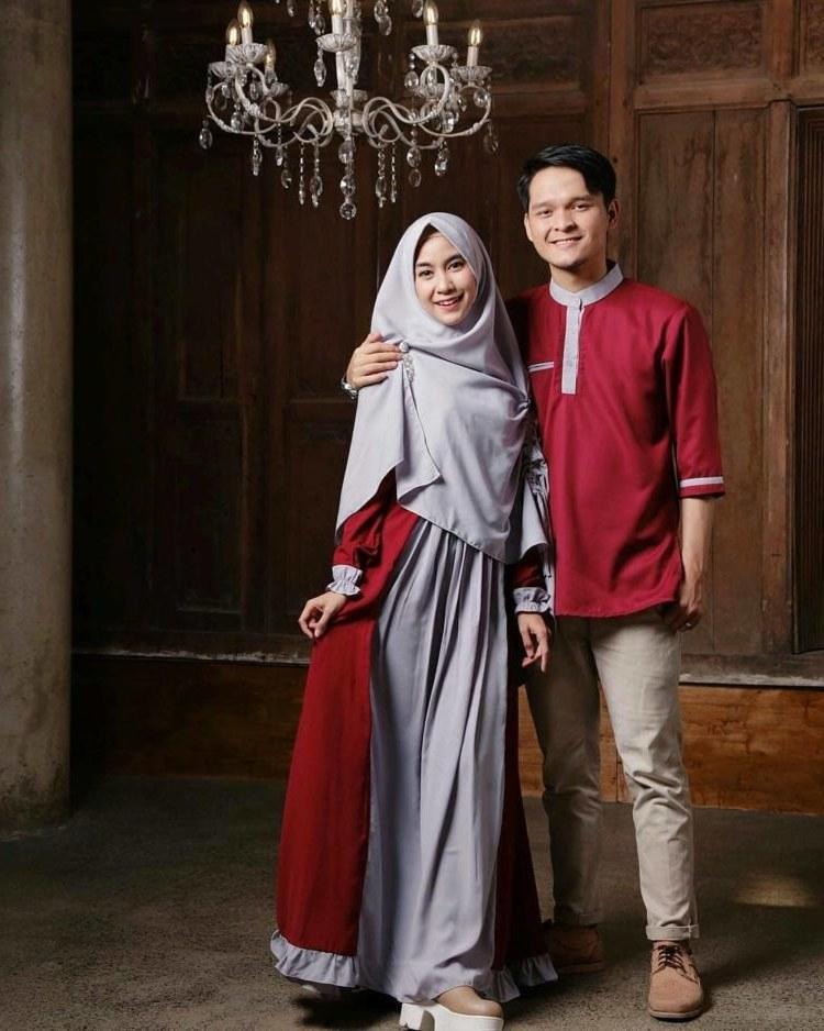 Ide Baju Lebaran Buat Keluarga Ftd8 30 Model Gamis Couple Modern Terbaru Suami istri