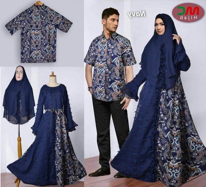 Ide Baju Lebaran Muslimah 9fdy Baju Lebaran 2018 Couple Batik Muslimah Navy Model Baju