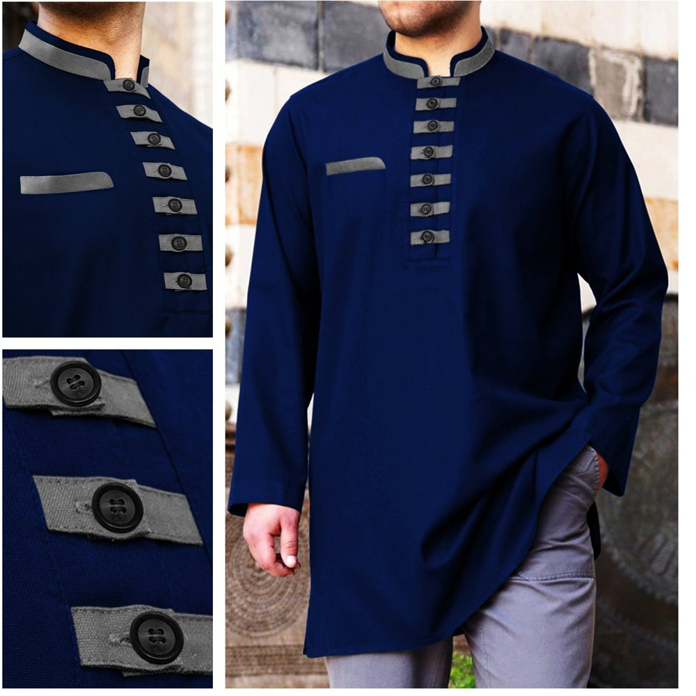Ide Baju Lebaran Pria Keren Jxdu Jual Baju Koko Akhtar Navy Blue Muslim Pria Brand Distro
