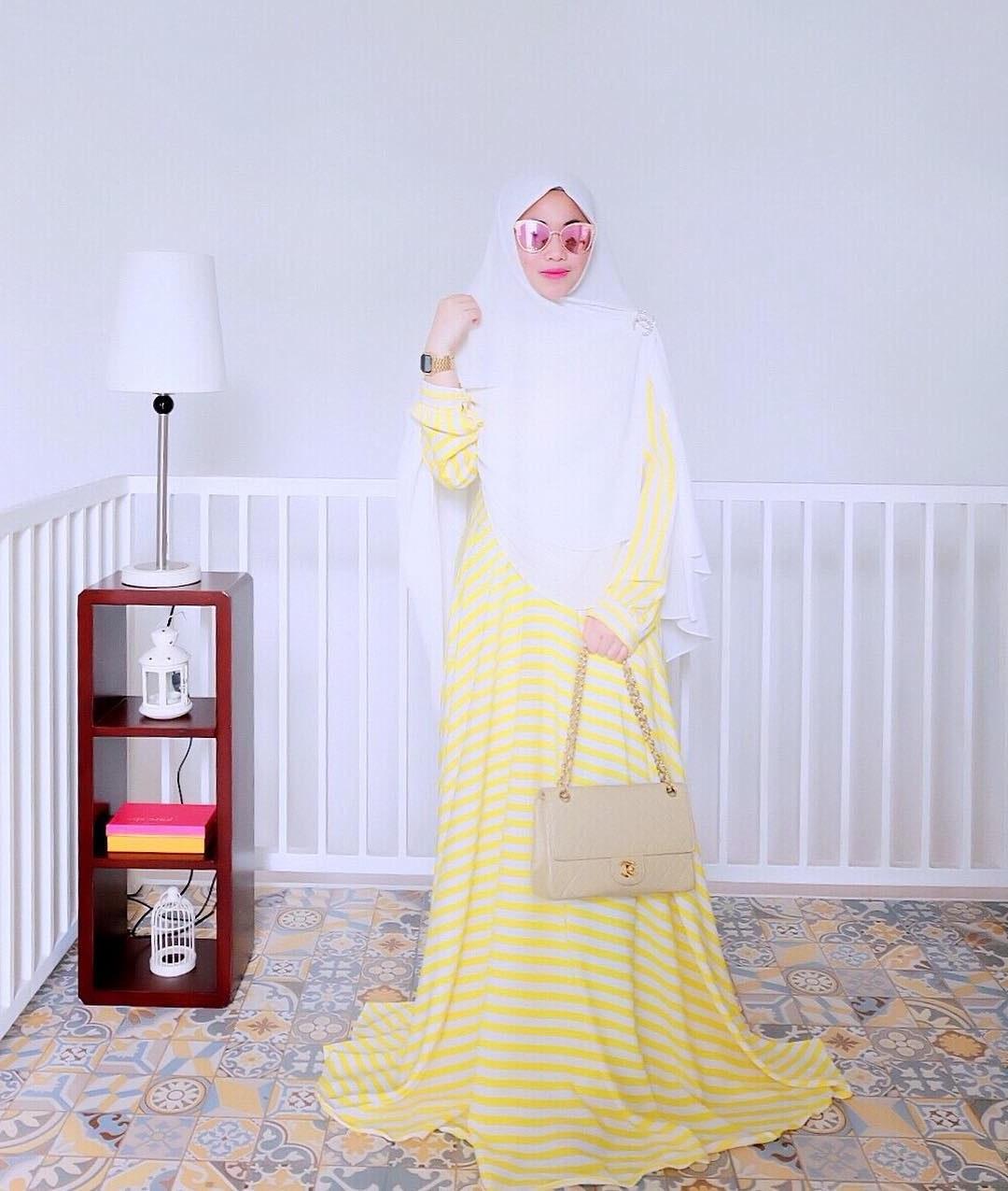 Ide Baju Lebaran Syari Dwdk 21 Model Gamis Lebaran 2018 Desain Elegan Casual Dan Modern