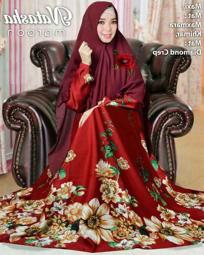 Ide Baju Lebaran Syari Fmdf Trend Baju Lebaran Syari Motif Bunga Natasha Marun Model