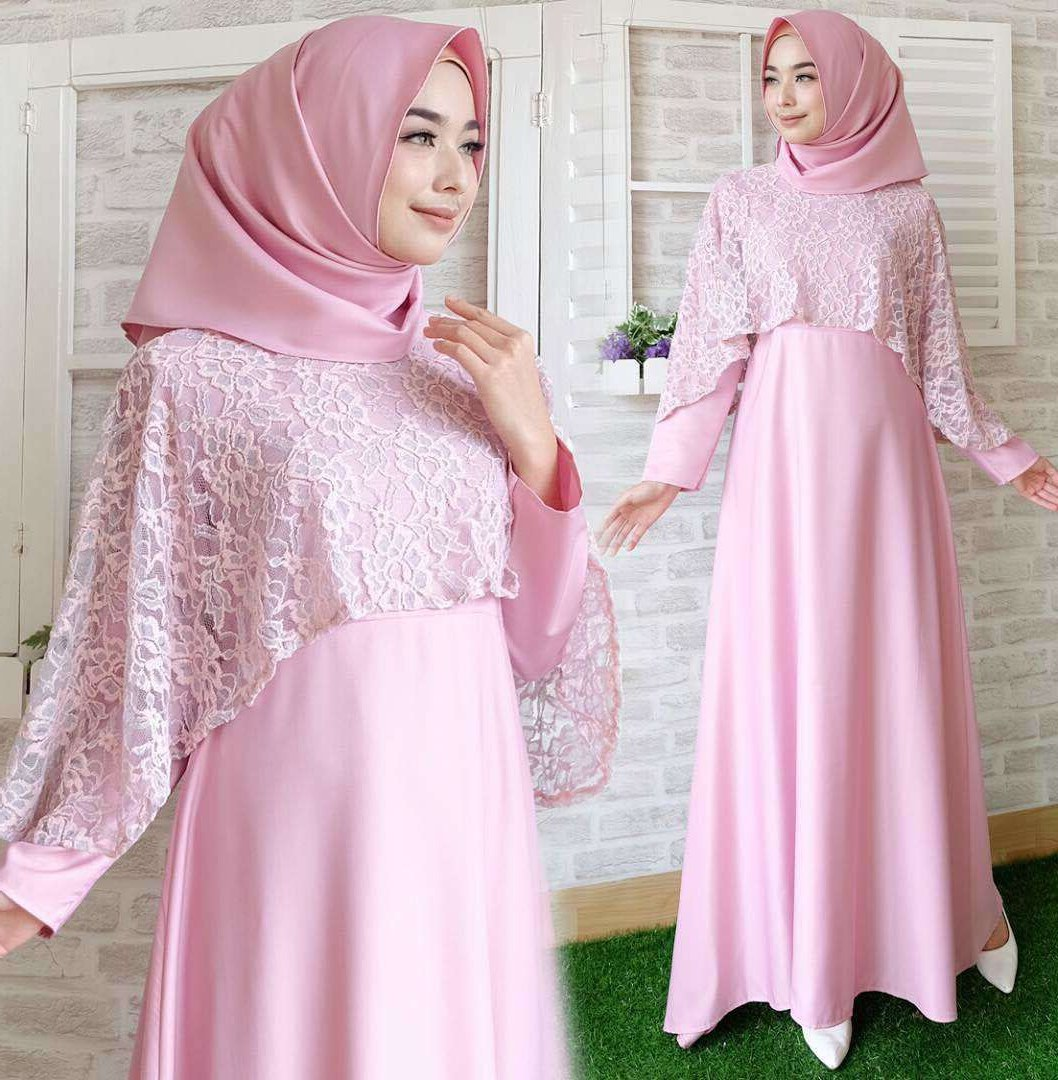 Ide Foto Baju Lebaran Terbaru 87dx Baju Gamis Lebaran Brokat Terbaru New Olivia soft Pink