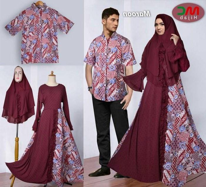 Ide Model Baju Lebaran Batik 2018 8ydm Baju Lebaran 2018 Couple Batik Muslimah Marun Model Baju