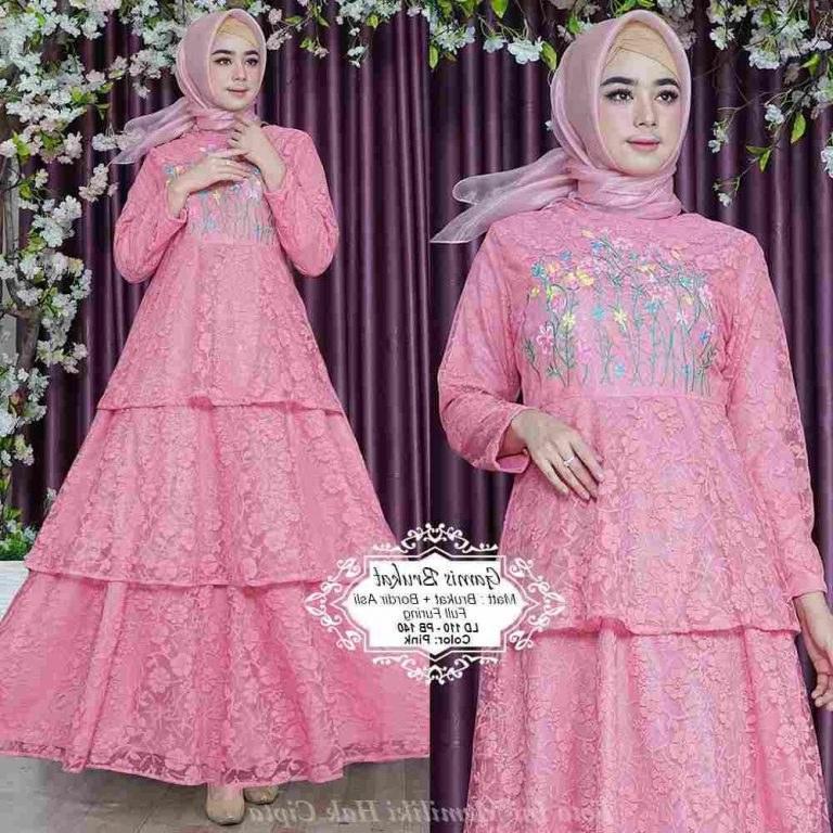 Ide Model Baju Lebaran Brokat 2019 Dwdk Gamis Full Brokat Kombi Bordir Terbaru 2019 Gamisalya